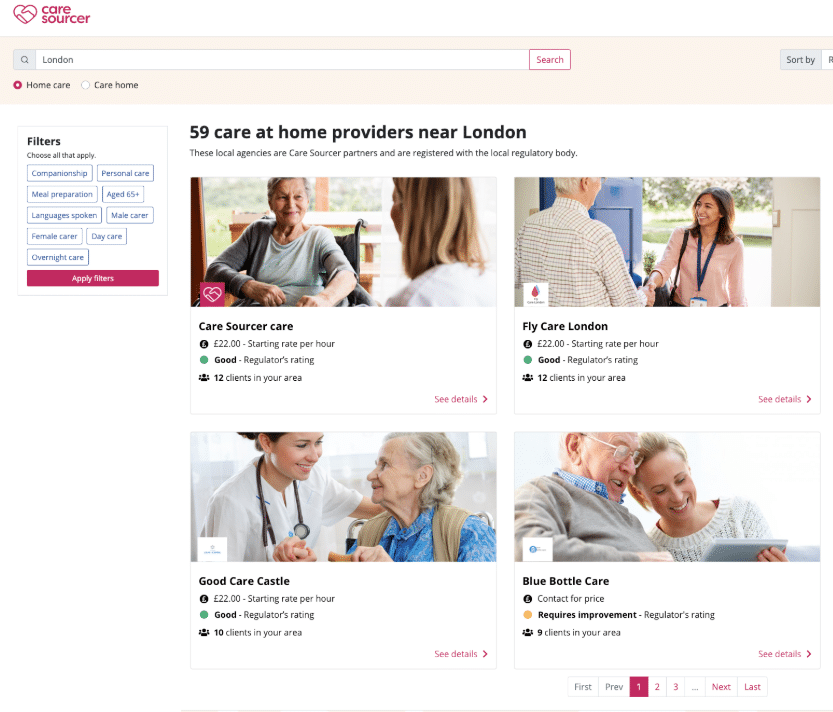 Care Sourcer directory of example search results